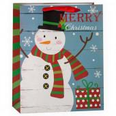 Пакет подарочный, Счастливого Рождества (снеговик с подарком), Голубой, с блестками, 32*26*12 см, 1