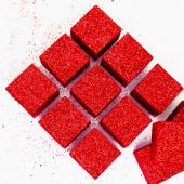 Фигура из пенопласта Куб, Красный, Металлик, 3 см, с блестками, 12 шт.