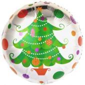 Шар (18''/46 см) Круг, Новогодняя елка, 1 шт.