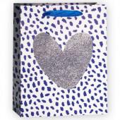 Пакет подарочный, Сердце, Серебро/Синий, с блестками, 23*18*10 см, 1 шт.