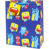 Пакет подарочный, Яркие монстрики, Синий, с блестками, 42*32*12 см, 1 шт.