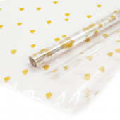 Упаковочная пленка (0,7*8 м) Сердечки, Золото/Белый, 1 шт.