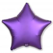 Шар (19''/48 см) Звезда, Пурпурно-фиолетовый, Сатин, 1 шт.