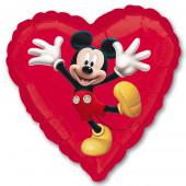 Шар (18''/46 см) Сердце, Микки Маус, Красный, 1 шт.