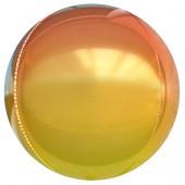 Шар (24''/61 см) Сфера 3D, Оранжевый, Градиент, 1 шт.