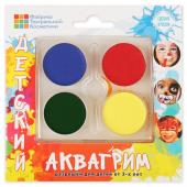 Аквагрим профессиональный, 4 цвета (красный/синий/желтый/зеленый)
