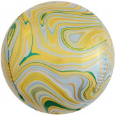 Шар (24''/61 см) Сфера 3D, Мраморная иллюзия, Желтый, Агат, 1 шт.