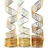 Лента декоративная (6 см*2,74 м) Ассорти дизайнов, Органза, Золото, 1 шт.