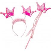 Набор (ободок и волшебная палочка) Принцесса, Розовый, с блестками, 1 шт.