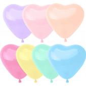 Сердце (10''/25 см) Макарунс, Ассорти, пастель, 100 шт.