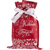 Подарочный мешочек, С Новым Годом!, Красный, 30*20*1 см, 1 шт.