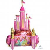 Шар (54''/137 см) Ходячая Фигура, Сказочный Замок, Принцессы Диснея, Розовый, 1 шт. в упак.