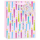 Пакет подарочный, Яркие свечи, Розовый, Голография, 23*18*10 см, 1 шт.