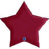 Шар (36''/91 см) Звезда, Вишневый, Сатин, 1 шт.