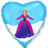 Шар (18''/46 см) Сердце, Принцесса Алексия, Голубой, 1 шт.