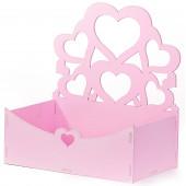 Декоративный ящик Узорные сердца, Розовый, 21*12*22 см, 1 шт.