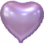 Шар (18''/46 см) Сердце, Сиреневый, Сатин, 5 шт. в упак.
