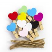 Декоративные прищепки Сердце, Ассорти, 3,5 см, 10 шт.
