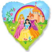 Шар (18''/46 см) Сердце, Замок принцессы, 1 шт.