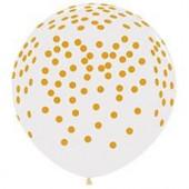 Шар (36''/91 см) Золотое конфетти, Прозрачный (390), кристалл, 5 ст, 10 шт.