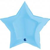 Шар (36''/91 см) Звезда, Макарунс, Нежно-голубой, 1 шт.
