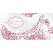 Конверты для денег, С Днем Свадьбы! (невеста в цветах), Розовый, с блестками, 10 шт.