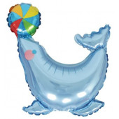 Шар с клапаном (17''/43 см) Мини-фигура, Морской котик, Голубой, 1 шт.