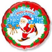 Шар (18''/46 см) Круг, Скользящий Санта, Красный, 1 шт.