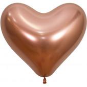 Сердце (14''/36 см) Reflex, Зеркальный блеск, Розовое золото (968), хром, 50 шт.