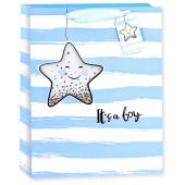 Пакет подарочный, С Рождением Сыночка! (звездочка), Голубой, с блестками, 23*18*10 см, 1 шт.