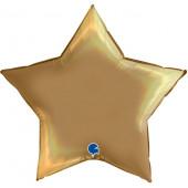Шар (36''/91 см) Звезда, Шампань, Голография, 1 шт.