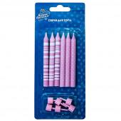 Свечи Точки и Полосы, Розовый / Белый, с держателями, 8 см, 6 шт