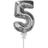 Шар-самодув (7''/18 см) Мини-цифра, 5, Серебро, 1 шт.