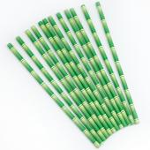 Трубочки для коктейлей, Бамбук, Зеленый, 12 шт.