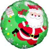 Шар (18''/46 см) Круг, Дед Мороз с подарками, Зеленый, 1 шт.