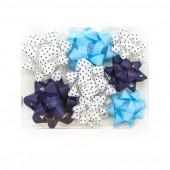 Бант Звезда, Синий микс, 5 см, 8 шт.