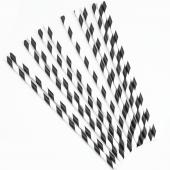 Трубочки для коктейлей, Белые полоски, Черный, 12 шт.