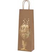 Пакет подарочный для вина, С Новым Годом! (золотой бокал), Крафт, Металлик, 36*13*8 см, 1 шт.