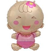 Шар с клапаном (17''/43 см) Мини-фигура, Малышка девочка, 1 шт.