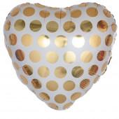 Шар (18''/46 см) Сердце, Золотые точки, 1 шт.