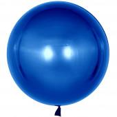Шар с клапаном (18''/46 см) Сфера 3D, Deco Bubble, Синий, Хром, 1 шт.