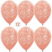 Шар (12''/30 см) Узор, Розовое золото (568), металлик, 5 ст, 50 шт.
