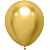 Шар (18''/46 см) Золото, хром, 10 шт.