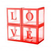 Набор коробок для воздушных шаров Love, Красные грани, 30*30*30 см, в упаковке 4 шт.