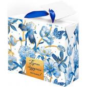 Пакет-коробка подарочный, Пусть Сбудутся Мечты! (воздушные цветы), Синий, Металлик, 22*13*20 см, 1 ш