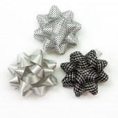 Бант Звезда, Серебро/Черный, 7 см, 12 шт.