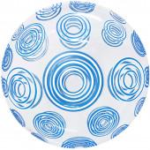 Шар (20''/51 см) Сфера 3D, Deco Bubble, Голубые круги, Прозрачный, 1 шт. в упак.