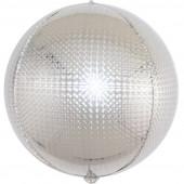 Шар (24''/61 см) Сфера 3D, Стерео, Серебро, Голография, 1 шт.