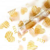 Упаковочная пленка матовая (0,7*8,8 м) Монро (сердца граффити), Золото, 1 шт.