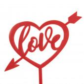 Топпер, Сердце, Love, Стрела Амура, Красный, 12*14 см, 1 шт.